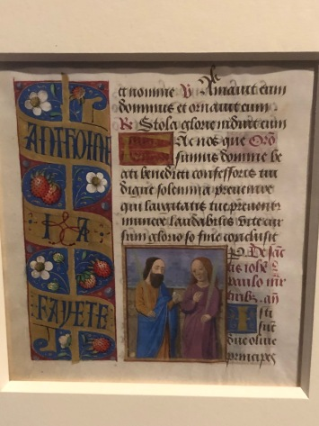 Bordures décorées du nom des possesseurs, c1475-1480, Lyon, McGill University Library. Personnalised with the names of the owner, here to commemorate a wedding.