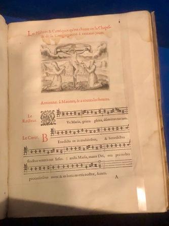 Heures de Notre dame, a l'usage de Rome, selon la reformation de notre S. Pere Pape Pie V, 1583, Paris, Musée de l'Amérique Francophone (Québec). Printed music sheet.