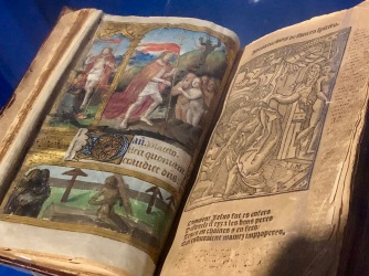 Hours for the use of Toul, c1500-1510, 1547, 1560, Paris, Musée de l'Amérique Francophone (Québec). Hybrid book resulting from the assemblage of different editions with a manuscript leaf in latin detached and inserted in the book of hours.
