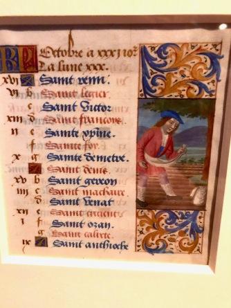 Calendrier du mois d'octobre, c1475-1480, Lyon, McGill University Library. Calendrier donnant les fêtes des saints et les fêtes liturgiques, illustré des signes du zodiaque ou des travaux relatifs à chaque mois. Le recto est ici illustré d'une scène de semence (au verso on retrouve un scorpion).