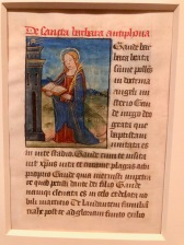 Suffrages à Sainte Barbe, c1475-1485, Paris, McGill University Library. Folio d'un livre d'Heures manuscrit en latin.