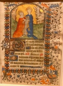 La Visitation, c1430-1440, Bayeux, McGill University Library. Folio d'un livre d'Heures manuscrit en latin à l'usage de Bayeux. Scène de la Visitation de Marie à sa cousine Élisabeth.