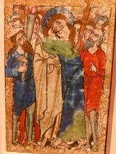 L'Arrestation du Christ et le Baiser de Judas, c1235-1250, Augsbourg, McGill University Library. Folio d'un psautier manuscrit.