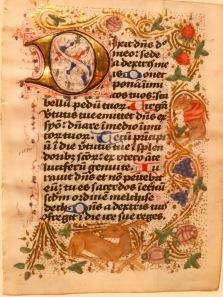 """Psaume 110, c1480, Pays-Bas, McGill University Library. Folio d'un psautier-bréviaire manuscrit en latin à l'usage des Brigittines (abbaye de Mariënwater). """"Une décoration exubérante caractérise les manuscrits, telle cette bordure en rinceaux à l'or bruni sur fond réservé et semé de pointillés d'or. Ces rinceaux sont peuplés de motifs végétaux (boutons d'aubépine, feuillage, fraises, grappes de raisin), d'un cerf couché dans la partie inférieure, ainsi que d'un renard avec une cape rouge dans la bordure de droite. Des marques textuelles indiquent que ce livre était destiné à un public féminin."""""""