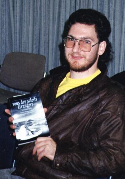 CJP promoting Sous des soleils étrangers at Boréal 11 (Ottawa, Oct. 1989)