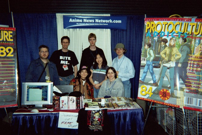 ANN's PA crew at Anime Boston 2005: Claude J. Pelletier, Christopher Macdonald, Sean Broestl, Bamboo Dong, George Philips, Miyako Matsuda and Julia Struthers-Jobin.
