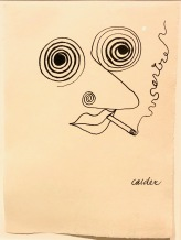 Jean-Paul Sartre, by Calder, 1947, ink on paper