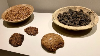 Bowls containing dried grapes & grain, Loaves of bread